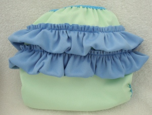 Blue/Green Ruffle Bottom Diaper Cover